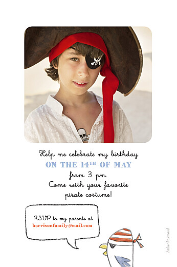 Kids Party Invitations Pirate party green - Page 2