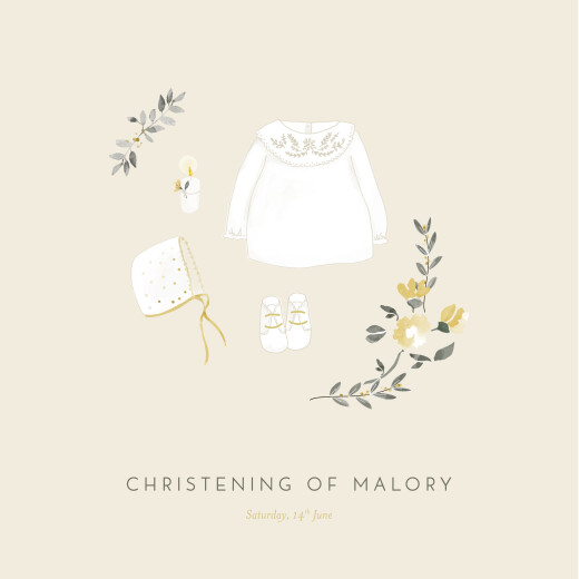 Christening Invitations Blessed yellow