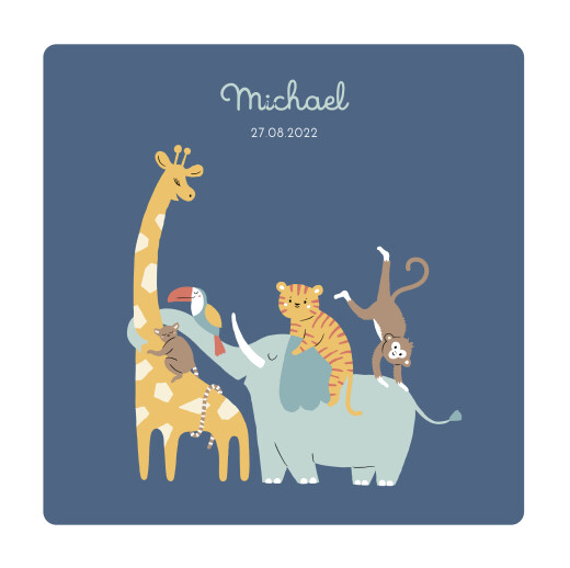 Baby Announcements Animal family blue