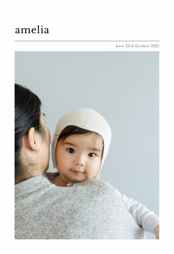Baby Announcements In print white