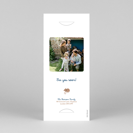 Baby Thank You Cards Animal family (bookmark) blue - View 4