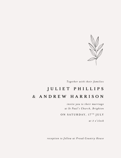 Wedding Invitations Budding branch (portrait) beige - Page 1
