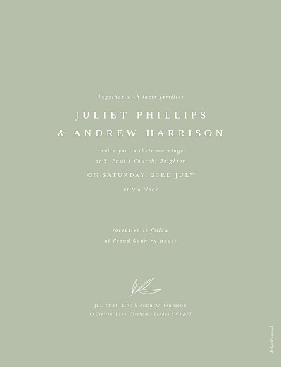 Wedding Invitations Budding branch (portrait) photo green - Page 2
