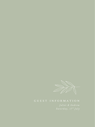Guest Information Cards Budding branch green