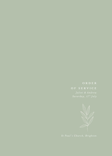 Wedding Order of Service Booklets Budding branch green