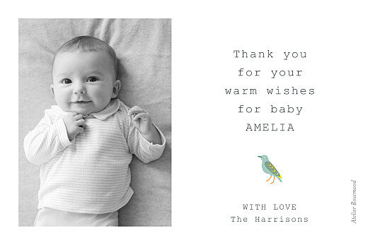 Baby Thank You Cards Birds of paradise white - Page 2
