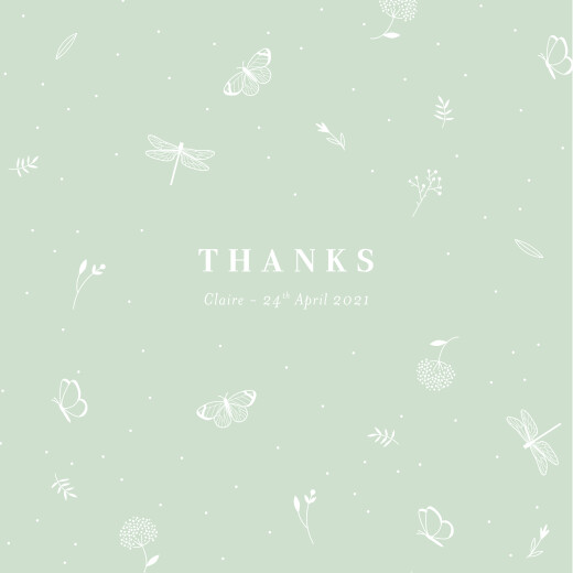 Baby Thank You Cards Elegant butterflies green