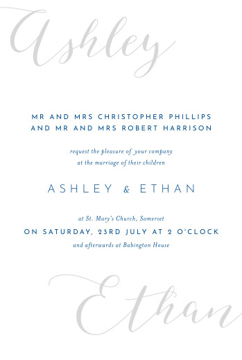 Wedding Invitations Calligraphy (small) blue