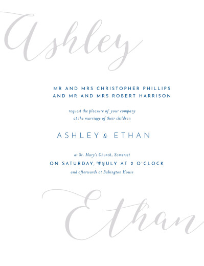 Wedding Invitations Calligraphy blue
