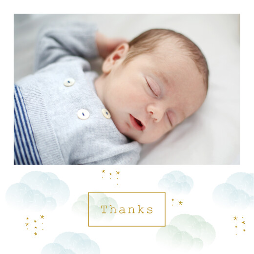 Baby Thank You Cards Mist (4 pages) blue