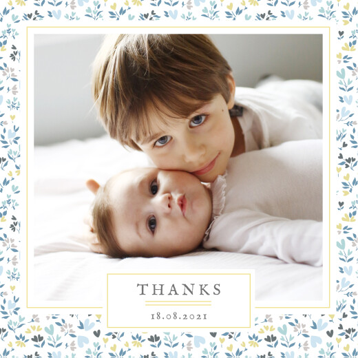 Baby Thank You Cards Liberty hearts (4 pages) blue