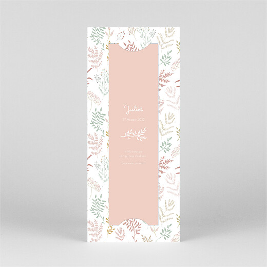 Baby Thank You Cards Liberty leaves (bookmark) pink - View 3