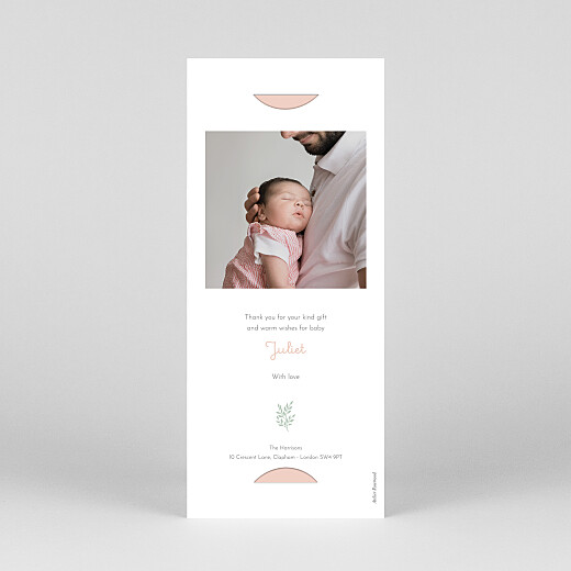Baby Thank You Cards Liberty leaves (bookmark) pink - View 4