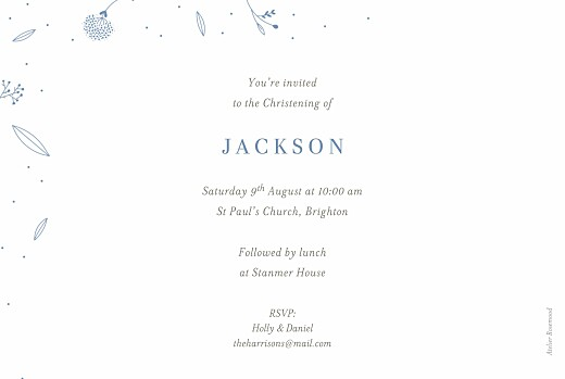 Christening Invitations Elegant foliage (foil) blue - Page 2