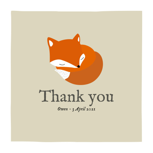 Baby Thank You Cards Little fox (square) beige