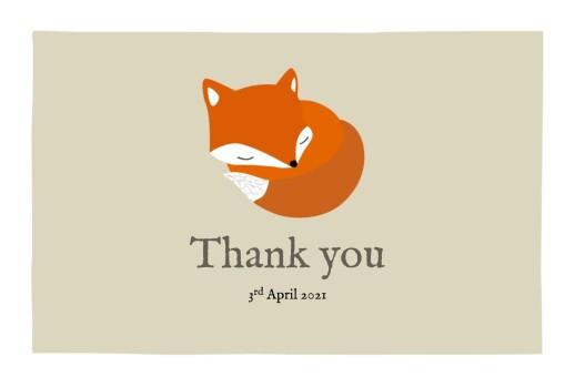 婴儿感谢卡的小狐狸米色
