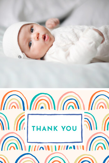 Baby Thank You Cards Rainbow (4 pages) blue