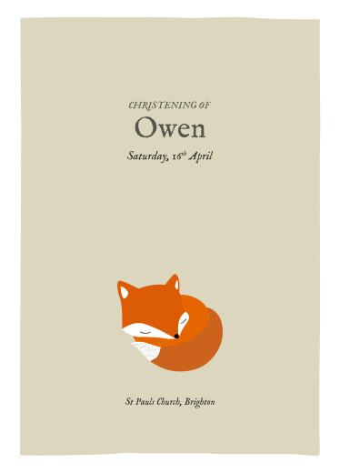 Christening Order of Service Booklets Little fox beige