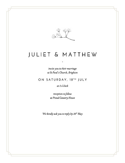 Wedding Invitations Gypsophila beige finition