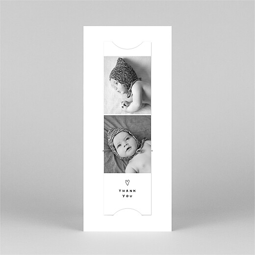 Baby Thank You Cards Me and my family (2 children) white - View 3