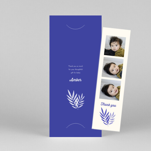 Baby Thank You Cards Palm leaves (bookmark) blue - View 1