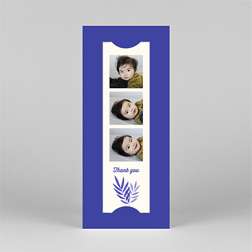 Baby Thank You Cards Palm leaves (bookmark) blue - View 2