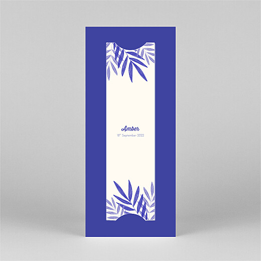 Baby Thank You Cards Palm leaves (bookmark) blue - View 3