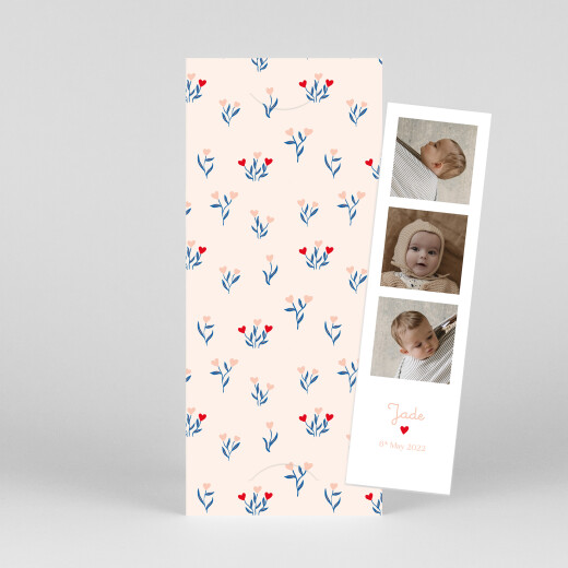 Baby Thank You Cards Love blossoms (bookmark) red - View 1