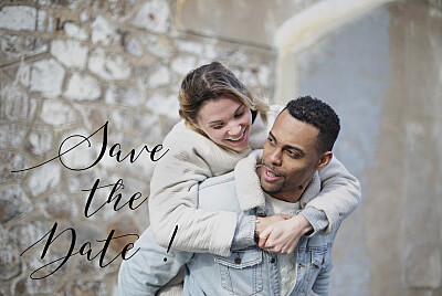 Save The Date Cards Bloomy white finition
