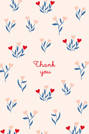 Baby Thank You Cards Love blossoms red