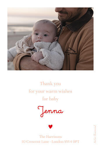 Baby Thank You Cards Love blossoms red - Page 2