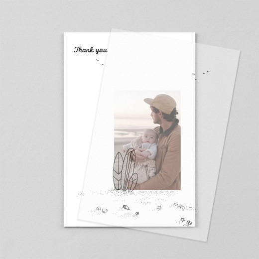 Baby Thank You Cards Surf's up (vellum) 1 child black - View 1