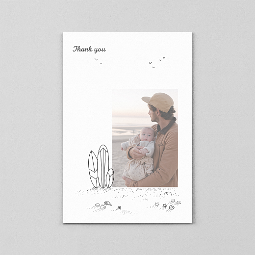 Baby Thank You Cards Surf's up (vellum) 1 child black - View 2