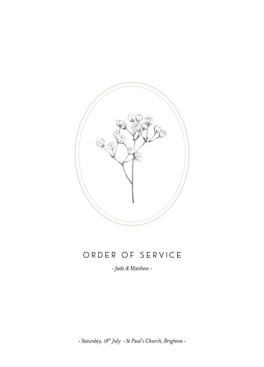 Wedding Order of Service Booklets Gypsophila beige