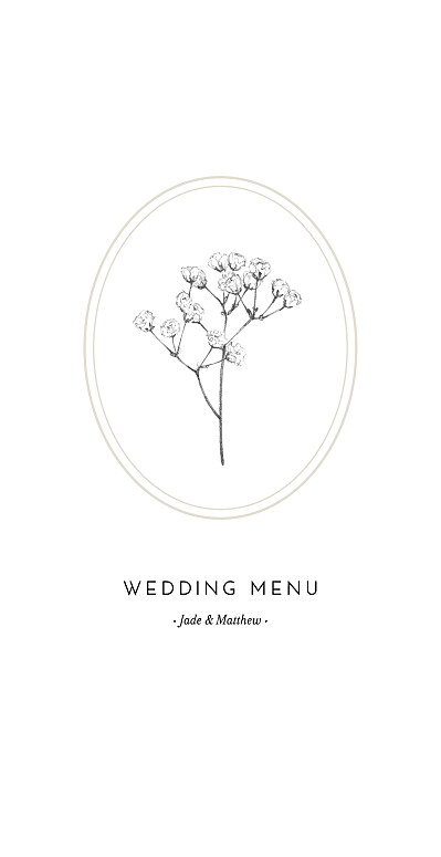 婚礼菜单,石膏米色finition