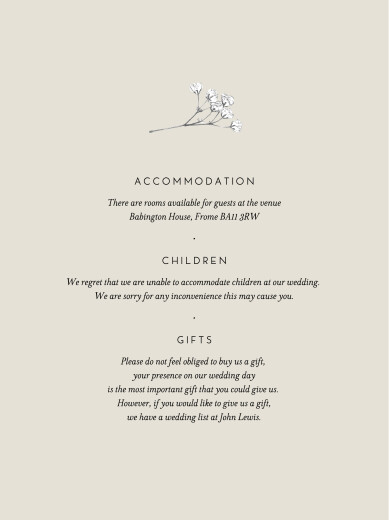 Guest Information Cards Gypsophila beige - Page 1