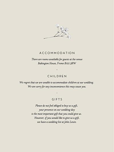 Guest Information Cards Gypsophila beige finition