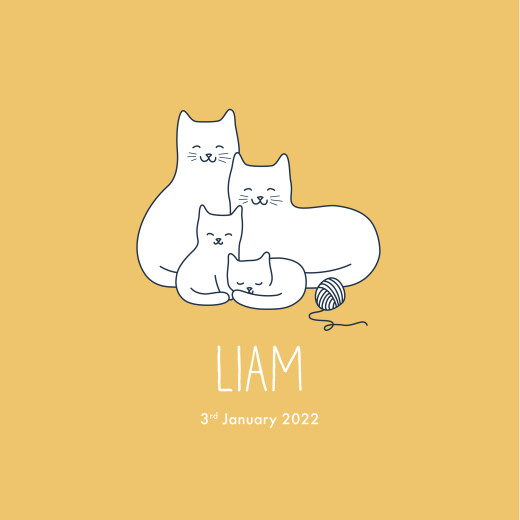 Baby Announcements Cat family of 4 yellow
