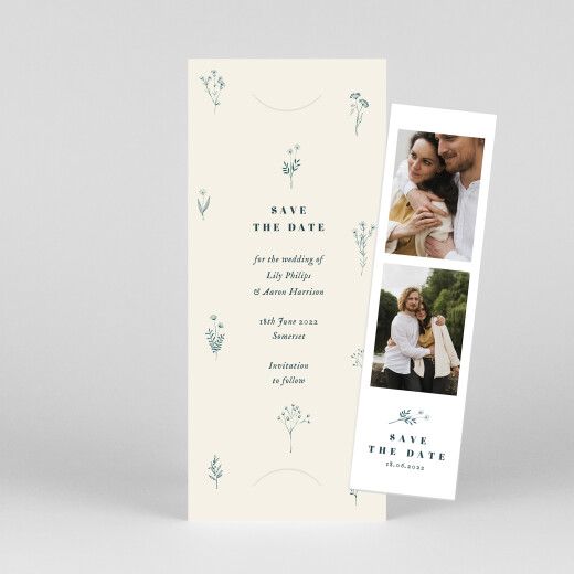 Save The Date Cards Floral minimalist (bookmark) beige - View 1