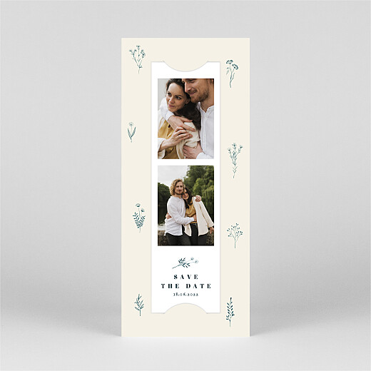 Save The Date Cards Floral minimalist (bookmark) beige - View 2