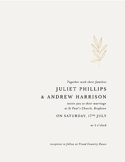 Wedding Invitations Budding branch (foil) portrait beige