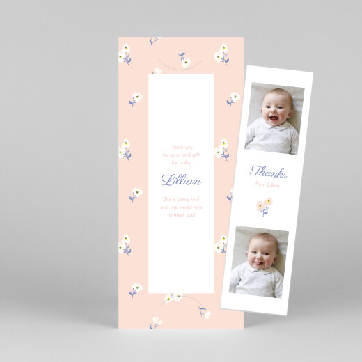 Baby Thank You Cards Cherry blossom (bookmark) pink - View 1