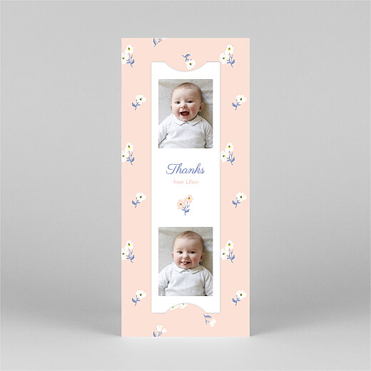 Baby Thank You Cards Cherry blossom (bookmark) pink - View 2