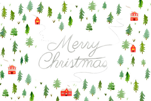 Business Christmas Cards Evergreen landscape (4 pages) white