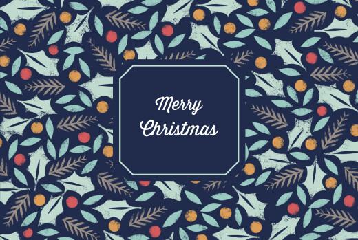 Business Christmas Cards Jolly holly blue