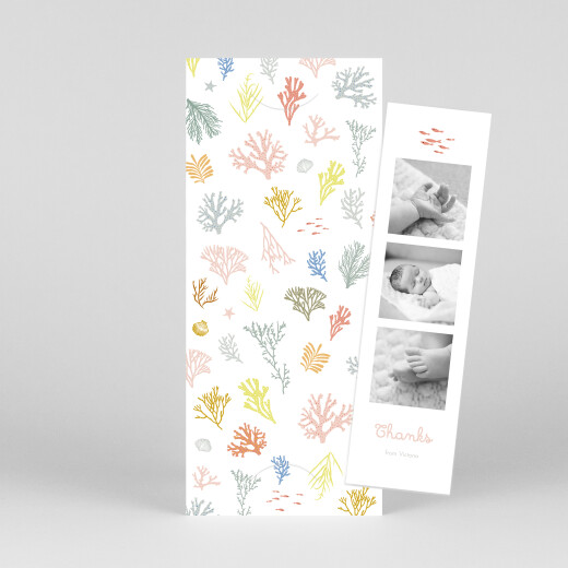Baby Thank You Cards Colourful coral (bookmark) pink - View 1
