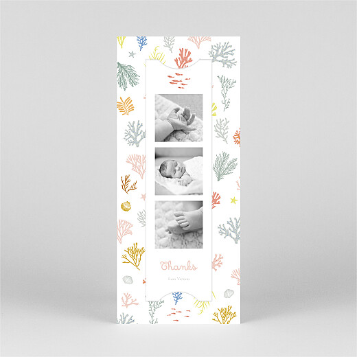 Baby Thank You Cards Colourful coral (bookmark) pink - View 2