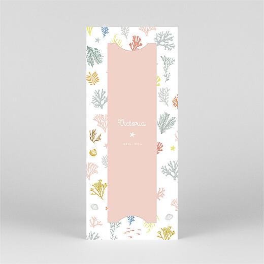 Baby Thank You Cards Colourful coral (bookmark) pink - View 3