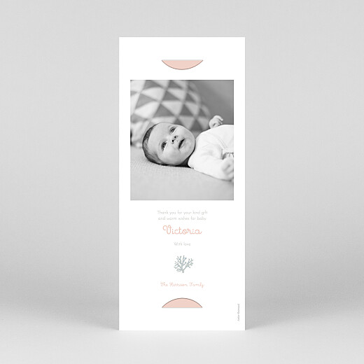 Baby Thank You Cards Colourful coral (bookmark) pink - View 4