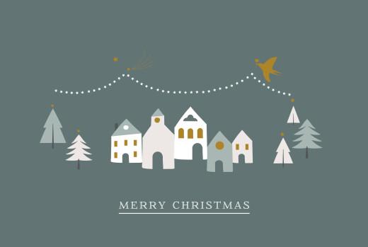 Business Christmas Cards Winter village dark green